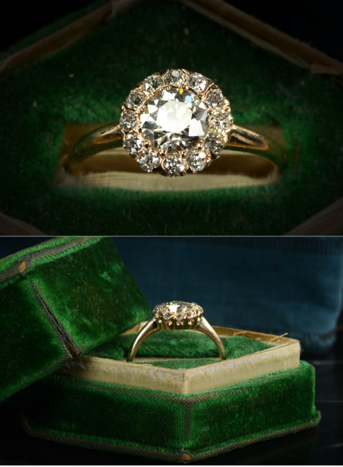 eriebasin:  1890-1900s Late Victorian Cluster Ring, ~1.65ctw, 14K (sold)0.95ct European Cut Diamond (approx J/SI2)0.70ctw Old Mine Cut Diamonds (approx G/VS-SI)