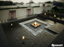 homedesigning:  Sit between water and fire! click here for other inspirational 'conversation pits'