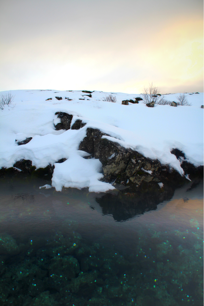 Thingvellir, Iceland*  *the water here is ground water and yet it is pure enough to drink due to it being filtered through lava. The star-looking objects are coins that people have thrown in for luck.