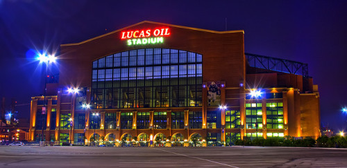 6. Lucas Oil Stadium Indianapolis, Indiana, USA Built: 2008 - Capacity: 63,000 (football) 70,000 (basketball) Home of the Indianapolis Colts, and site of Super Bowl XLVI and the 2010 and 2016 NCAA Men's Final Four. The stadium's exterior was built to mimic the traditional fieldhouses of Indiana. The roof is retractable, and the large window on the north end of the stadium can be opened for views of downtown Indianapolis. Photo by Carl Van Rooy. Linked photos of Colts and Final Four from Brian Hubbard and Flickr user slack13, respectively.