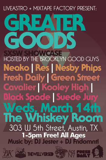 Check us out at the Greater Goods SXSW showcase down in Austin, TX.  March 14th, 1-5 PM.