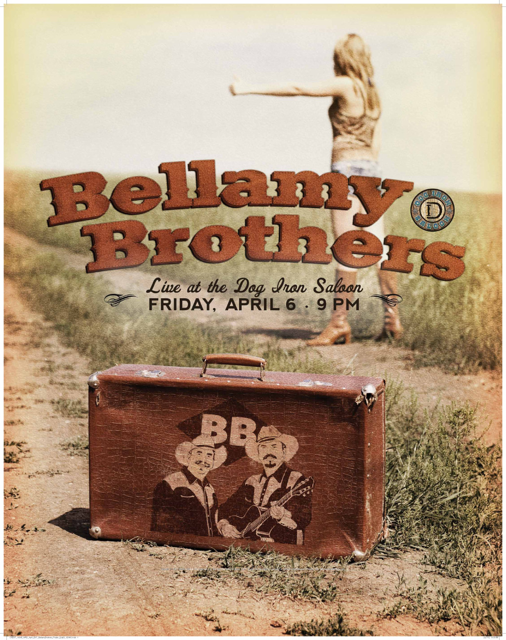 Bellamy Brothers poster I designed. Knowing little of the group itself, I researched their hits. 'Redneck Girl' was a popular one among their fan base it seemed, so I thought of a hitchhiking concept. Country music, to me, lends it'self to a rustic, vintage feel. So, naturally, I aged the poster with color fading on the edges. Had fun with the Bellamy Brothers typography too. All in all had fun working on this project.