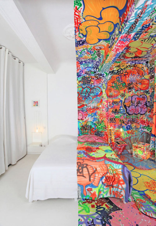 "thedailywhat:  Hotel Art of the Day: Street artist Tilt turns half a Marseillais hotel room into a den of tags for his latest project, ""Panic Room."" [doobybrain.]"