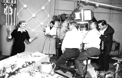 Desi behind the camera on the set of I Love Lucy