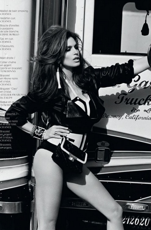 pretaportre:  Supermodel Cindy Crawford can even make posing at a truck stop look glam with the tenth anniversary cover shoot of French Revue de Modes. In front of Thierry le Gouès lens, Cindy poses in some of spring's most standout looks from the likes of Lanvin, Gucci and Dolce & Gabbana selected by Marcell Rocha.