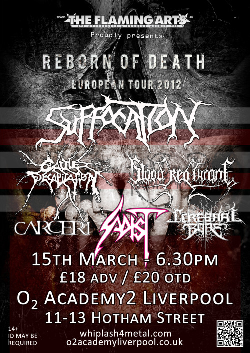 The final poster for the show on the 15th March in Liverpool!! Get yourself there!!  Tickets available from www.whiplash4metal.com/shop NOW!!!  14+ show!!!!