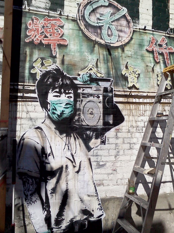 Street artist Eddie Colla just threw this nice piece up on the Telegraph Cafe in Oakland…