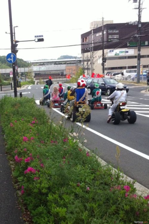 Awesome thing to see on the road #23 Real life Mario Kart!!!