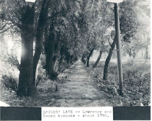 Lovers' Lane, Lawrence and Damen (Lincoln Square), c.1890, Chicago.
