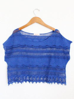 New Blue Crochet Crop Top at Mickey's Girl http://mickeysgirl.com/new-arrivals/blue-crochet-crop-top.html