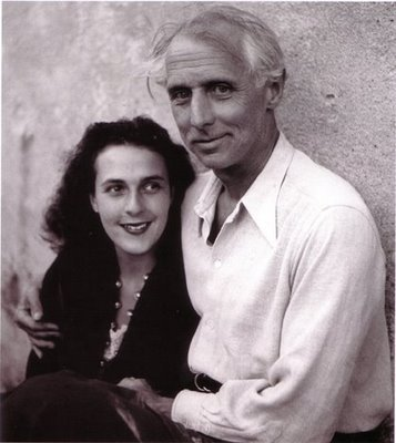 Leonora Carrington and Max Ernst Leonora met Max at a London party in 1937. The artists bonded and returned together to Paris, where Max promptly separated from his wife. The following year they settled in Saint Martin d'Ardèche in the south of France. The new couple collaborated and supported each other's artistic development. With the outbreak of World War II, Max was arrested by French authorities and then by the Nazis. He managed to flee to America however with the help of Peggy Guggenheim.  But Leonora, devastated by the events and paralyzed by anxiety and growing delusions suffered a breakdown. The couple never reconnected. [Wiki]