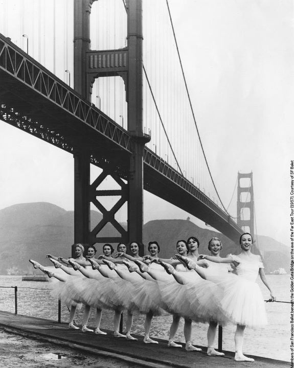 across-the-oonaverse:  Ballerinas from the San Francisco Ballet circa 1957 - Golden Gate Bridge