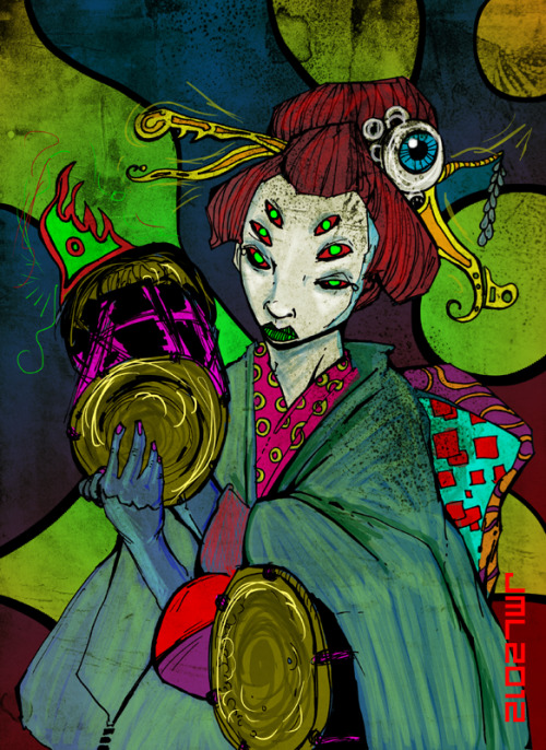 geisha oni with tsudzumi and otsuzumi