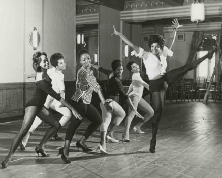 "Nichelle Nichols rehearses a dance number with some of the cast from ""Kicks and Co.,"" a 1961 musical satire about segregation that was directed at one point by Lorraine Hansberry and produced by her husband). Although the show had major financial backing, an ""all-star interracial cast"" (Burgess Meredith, Lonnie Sattin, Vi Velasco) and success in Chicago, it never made it to Broadway as planned. Photo via The New York Public Library."