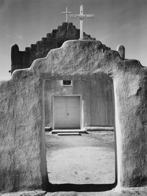 thepowerofart:  Ansel Adams, Church, Taos Pueblo, 1942.