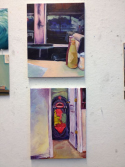 Classwork (unfinished) and homework. I've made more paintings in this class than I have in my entire life lol.