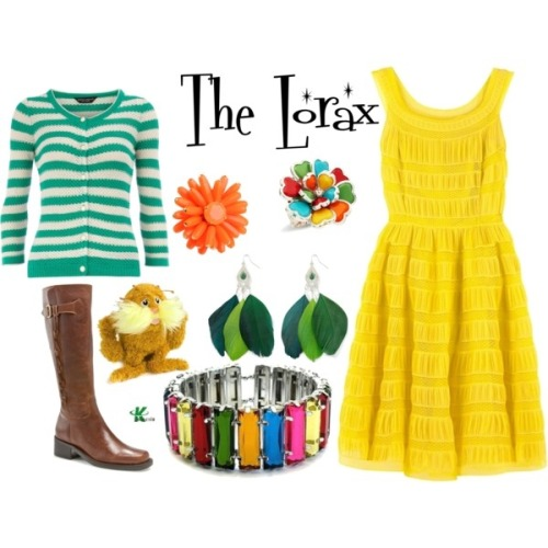My creation inspired by The Lorax, which premiered in theaters today (March 2, 2012), which is also Dr. Seuss' birthday. **The basis for this set if the character Audrey, voiced by Taylor Swift.  Similar to Audrey's clothes, I've chosen a yellow dress and green striped sweater.  I've also included a pair of tall boots in keeping similar to hers.  For accessories I've added a lot of colour with the bracelet and the rings, and the rings are also representational of the environmental issue of the film. http://kerogenki.polyvore.com/