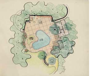Thomas Church's drawing for the pool at El Novillero, the Donnell Garden in Sonoma, California completed 1948.