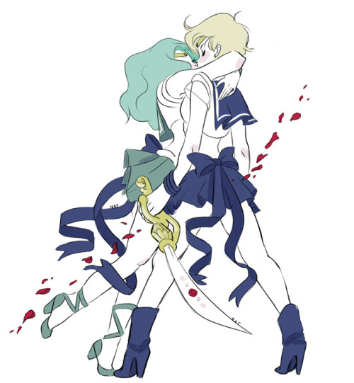 [Image:  Digitally illustrated art of Michiru and Haruka from Sailor Moon.  They're both dressed in their respective Sailor Scout uniforms, Haruka holing a large sword.  Michiru is leaning up to kiss Haruka gently.  Behind Haruka, red rose petals flow in the wind.]