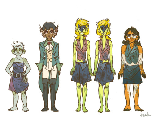 The rest of the crew for the preliminary design of Jonah and the World Without End. Left to right: Cabingirl Portia Bianci, Botswain Regina Andrews, Second and Third Gunnery Mates Ace and Deuce Dorado, First Gunnery Mate Martha Levitt.