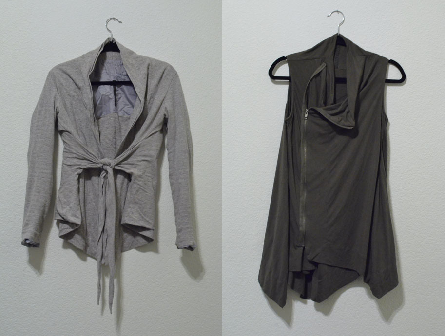 "SELLING!1st. Light grey Rick Owens Lilies tie knot cardigan - 100$ OBO2nd. Dark Olive Green Rick Owens Lilies asymmetrical zip tunic - 100$ OBOMessage me if you are interested, all transactions will be completed through paypal and I can provide selling history through ebay and livejournal communities if wanted.(obo means ""or best offer"" by the way~)"
