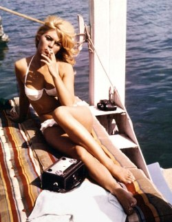 Brigitte Bardot on the set of A Very Private Affair