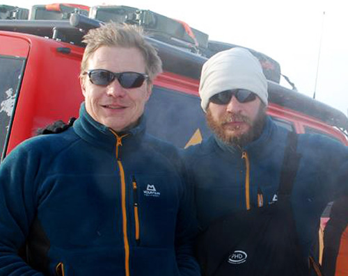 tomhardyvariations:  Tom with his Siberian touring partner Mika Salo. This is an edit of a larger pic; hope more photos of them turn up. As in, polar bear swim snaps. ;) Finnish racing driver Mika Salo competed in Formula One between 1994 and 2002. He's now joined the i1 Super Series, which looks set to be pretty badass.  Tom's FLACK fundraising page at justgiving.com Tom's (rather overlooked by contributors!) Help for Heroes page at justgiving.