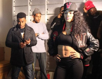 "Teyana Taylor on set for the video for ""Bad Boy"" featuring B. Mac + Tyga's female rap artist Honey Cocaine in Harlem this week. Teyana is also co-directing the video…"