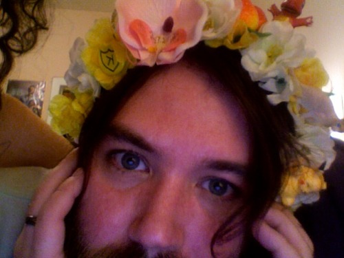 Here's mein cute boyfriend, Quinn, in a Rookie-inspired flower crown. Shoutsout K Records, Pokemon, and cats (can you see the three cats on this?). - Amy Rose