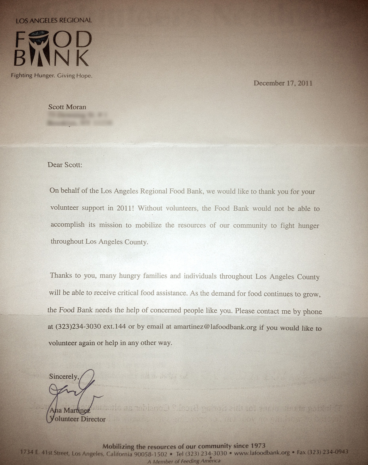 Food Bank Thank You Letter