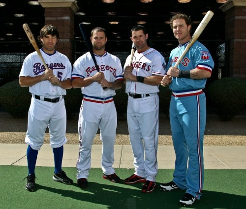 Kins, Nap, Young, and Hamilton modeling some throwback unis. LOVEEEE!! <3