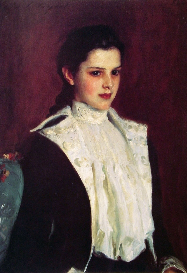 "Alice Vanderbilt Shepard (1888) by John Singer Sargent Alice Vanderbilt Shepard was the daughter of Elliot Fitch Shepard and Margaret Louisa Vanderbilt, a daughter of William Henry Vanderbilt. In 1895 Alice married Dave Hennen Morris, who later became the U.S. Ambassador to Belgium. Alice was known to her family as ""Angela"" because of the sweetness of her disposition and the beauty of her face, well-demonstrated by her attached portrait. She was no true angel, however, and climbed a tree against her father's specific interdiction and fell out fracturing her thoracic spine. Her father, a hard man, refused to call the doctor to punish her disobedience. She grew up deformed in a mansion on the Hudson now occupied as the clubhouse of the Sleepy Hollow Country Club. She was courted for sometime by ""Dave"" Hennen Morris who saw her face around the funnel of the steamer to France and knew at once that he must marry her. When he pursued her more closely, he saw that she had a deforming scoliosis which did not change his ardor one bit. When he presented himself to ask for her hand in marriage, her father (the hard man), told him he would never amount to anything good and asked him to leave and and have no further contact with the family. When he was allowed to say good-bye to her in the hall, he asked her to elope with him. She climbed out the window that night for an extraordinary life. Her sister later packed up her clothes in a trunk and sent them on by Railway Express. Mr. Shepard was infuriated at the insubordination of yet another daughter and refused to speak to her for a year, as the family story goes."