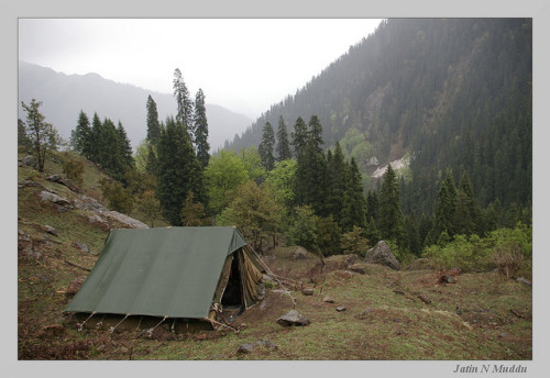 Camping in the mountains by jatin.muddu on Flickr. Camp is set up and the tent stands ready. Outdoor Sporting Goods