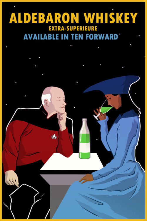 "Aldebaran Whiskey. ""It is… it is… it is green."" - Data Guinan had a special stock of Aldebaran Whiskey, that had been a gift from Jean-Luc Picard; it was a drink they often shared together.Based on an absinthe ad that Leonetto Cappiello had done. Other designs: ROMULAN ALEKLINGON BLOODWINESAURIAN BRANDYEARL GREY TEAALDORIAN ALEFINAGLE FOLLYBAJORAN SPRINGWINE"