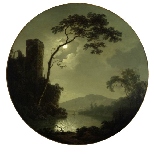Joseph Wright, Lake with Castle on a Hill, 1787.