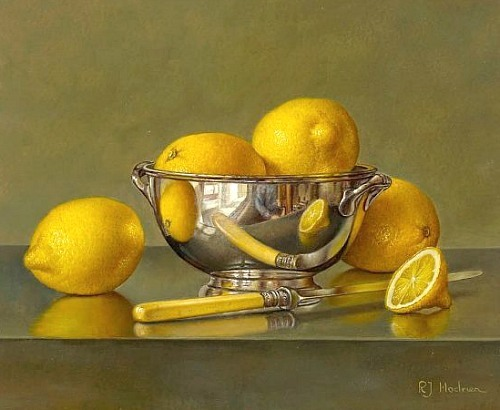 Roy Hodrien Lemons in a Silver Bowl 2011