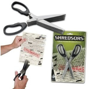 Shred Scissors that Shred paper, easy to use, no more noisy paper shredding baskets. Check it Out