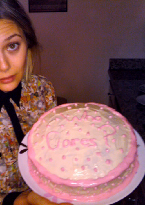 Elizabeth Olsen's birthday cake she baked for herself. On her birthday.