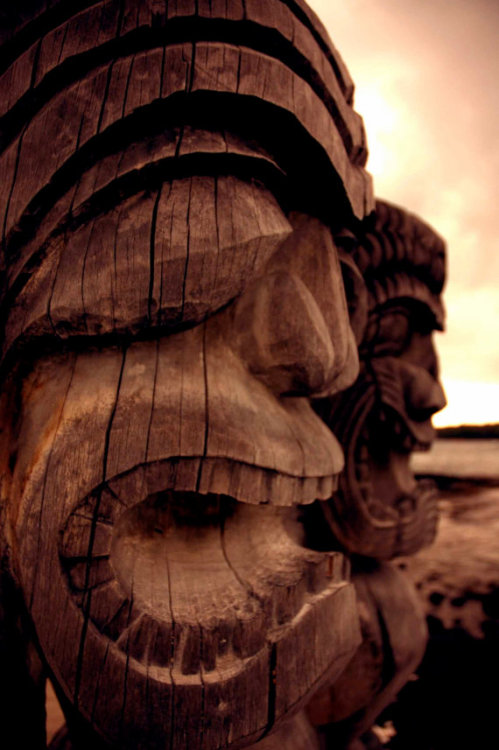 These tikis face the ocean, guarding the place where all sins are forgiven. In ancient Hawaiian culture, Puuhonau o Honaunau was designated as a place of refuge, and no blood could be shed in its confines. If you had broken the kapu, the ancient set of laws, or were escaping from a war enemy and were strong enough to swim through the open ocean to this place of refuge, you were protected and given a second chance. Tikis guard the fortress, blessing all who enter and cursing all who wish harm upon those inside.