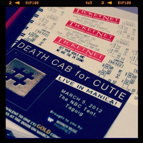 Death Cab For Cutie, Smash and The Maine!!! This march :) ❤ http://instagr.am/p/HtG3DaLbVx/