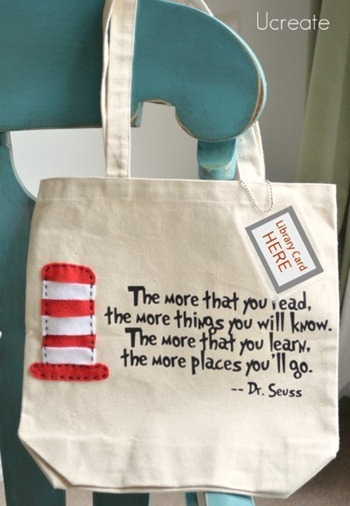 cajunmama:  How to make your own book bag.  I love the library card pocket.  source