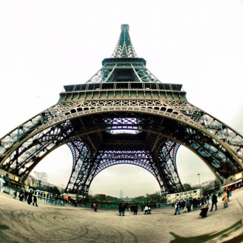My view of the Eiffel Tower using the iPro fisheye for iPhone! Love it! (Taken with Instagram)