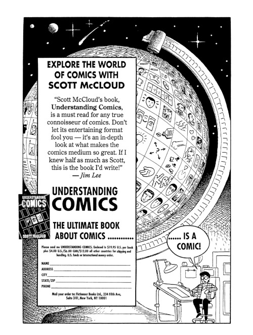 Promotional ad for Understanding Comics by Scott McCloud, 1993.