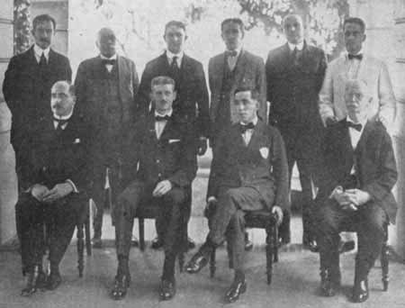fylatinamericanhistory:  First administrative cabinet of the government of Puerto Rico under the Jones-Shafroth Act (also known as the Jones Act) of 1917: A. Ruíz Soler (Health), José E. Benedicto (Treasurer), Ramón Siaca Pacheco (Secretary), Hon. Arthur Yager (Governor, 1914-1921), Paul G. Miller (Education), Manuel Camuñas (Labor and Agriculture), Salvador Mestre (Attorney General), Guillermo Esteves (Interior), Jesse W. Bonner (Auditor), Pedro L. Rodríguez (Governor's Secretary).