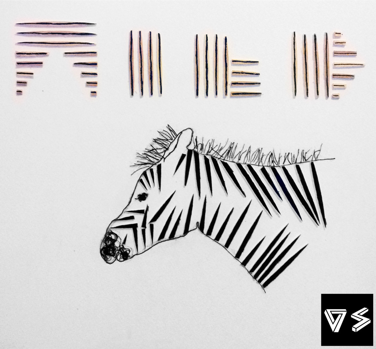 Cebra Salvaje. Hecho con palillos de madera e hilo. Wild Zebra. Made with wood sticks and thread. V.S.