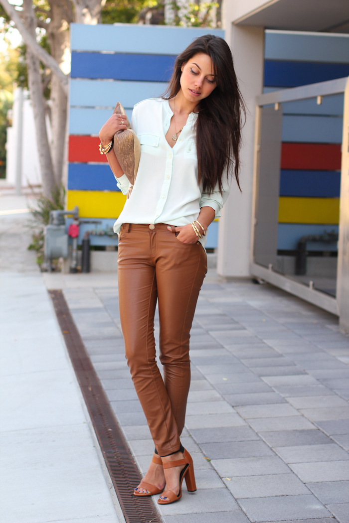 Equipment signature mint blouse, Leather skinny ankle grazer pants - shopgoodnightmacaroon.com, Anthropologie golden plains pouch, Zara high heel sandals with buckles (image: vivaluxury)