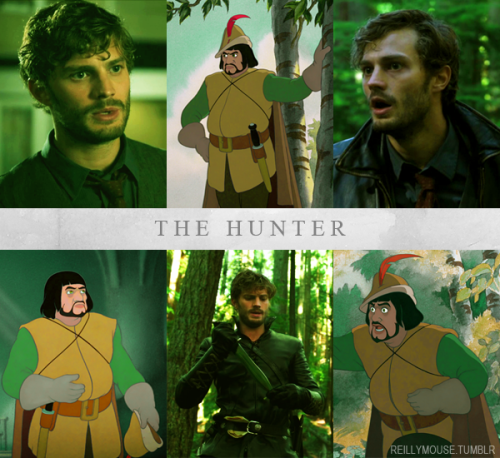 reillymouse:  Once Upon A Time Characters + Disney Counterparts - The Hunter  Ang kulit ni malayong design e. XD PFFFT.