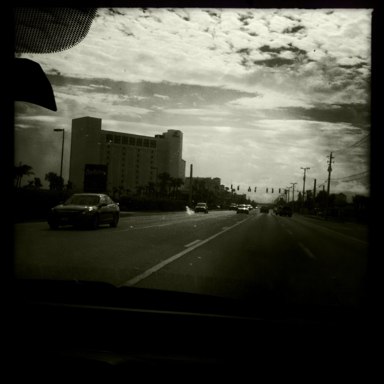 A1A, Brevard Co Fl John S Lens, Claunch 72 Monochrome Film, No Flash, Taken with Hipstamatic