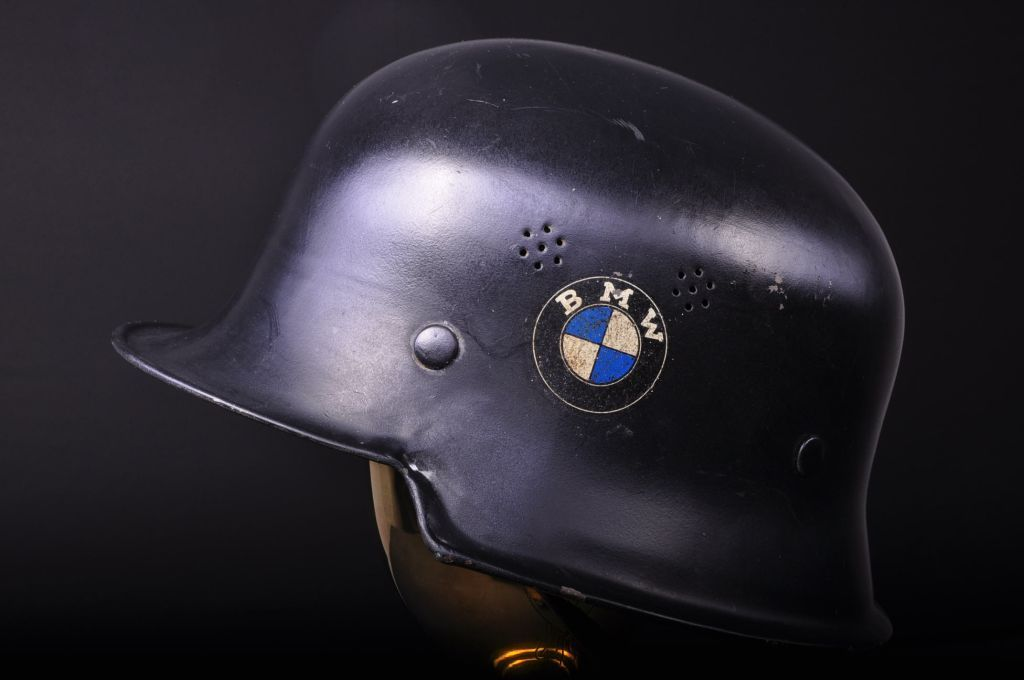 bmwcaferacer:  BMW World War II German Air Defense Helmet (circa 1940) (Not my image) - I don't know about the authenticity of this helmet, but there's a BMW production label inside. Don't know, but it's still very cool.