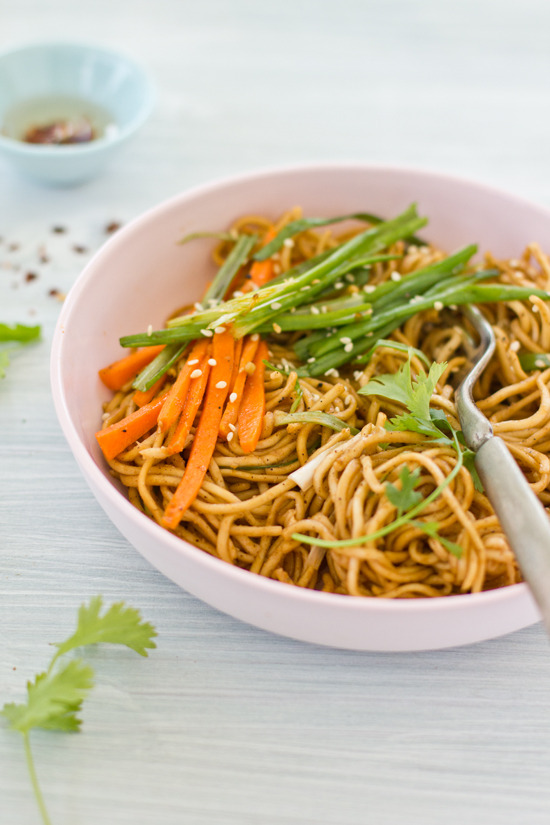 sesame egg noodles with stir fried vegetables.